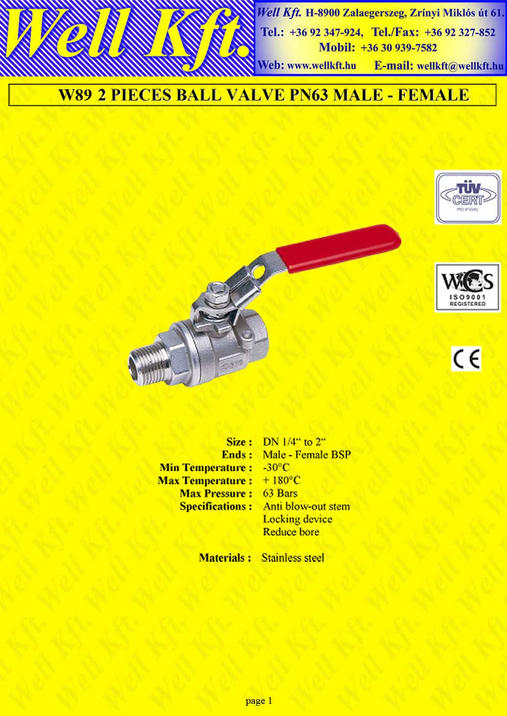 2 pieces ball valve stainless steel, male-female (1.)