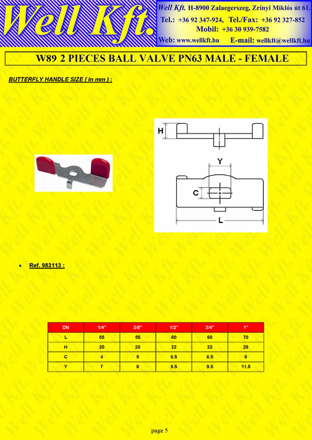 2 pieces ball valve stainless steel, male-female (5.)