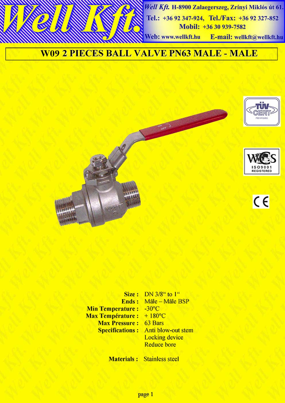 2 pieces ball valve stainless steel, male-male PN 50-63 (1.)