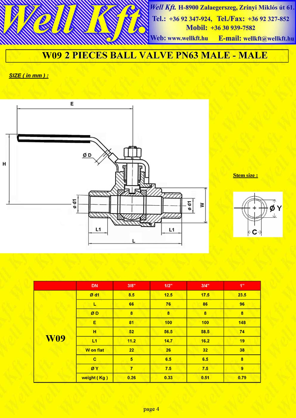 2 pieces ball valve stainless steel, male-male PN 50-63 (4.)