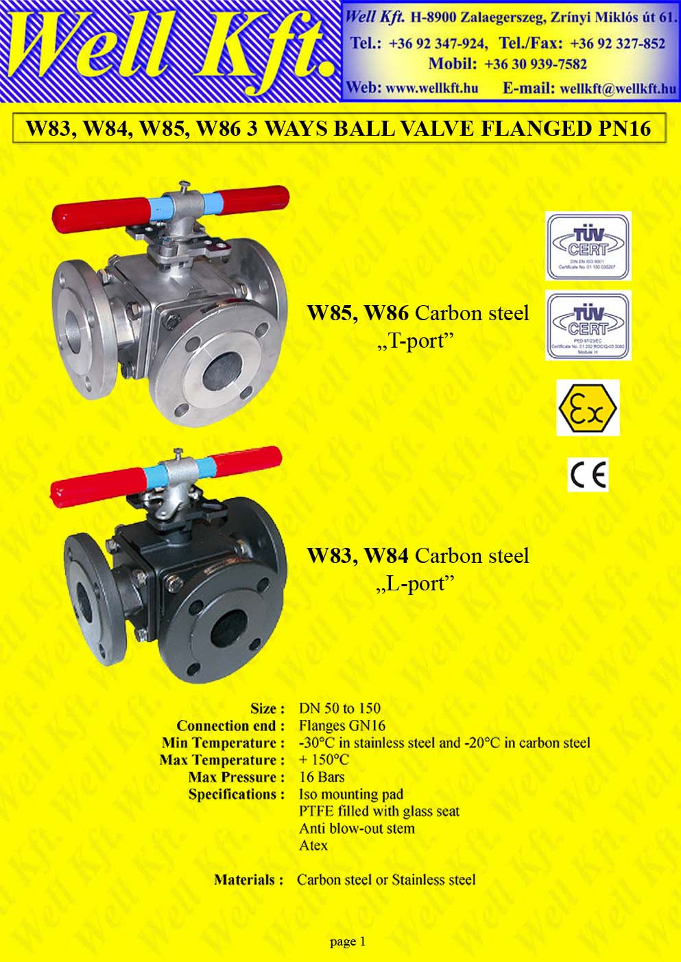 3 ways ball valve stainless steel, carbon steel flanged PN 16 (1.)