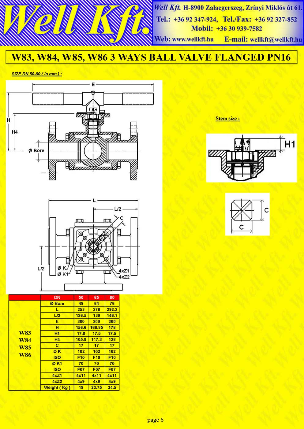 3 ways ball valve stainless steel, carbon steel flanged PN 16 (6.)