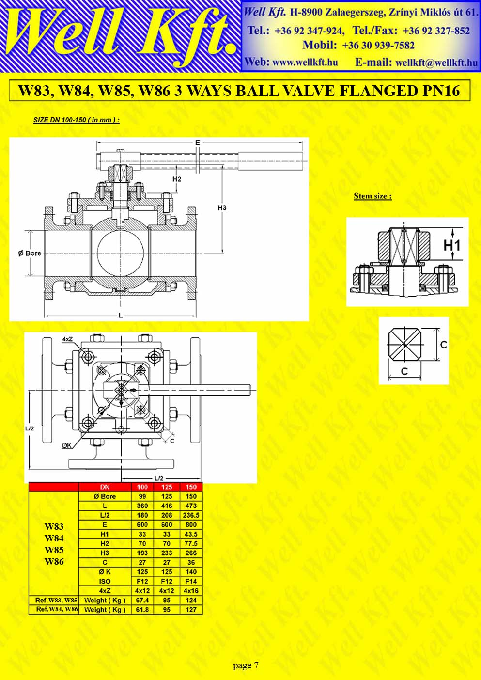 3 ways ball valve stainless steel, carbon steel flanged PN 16 (7.)