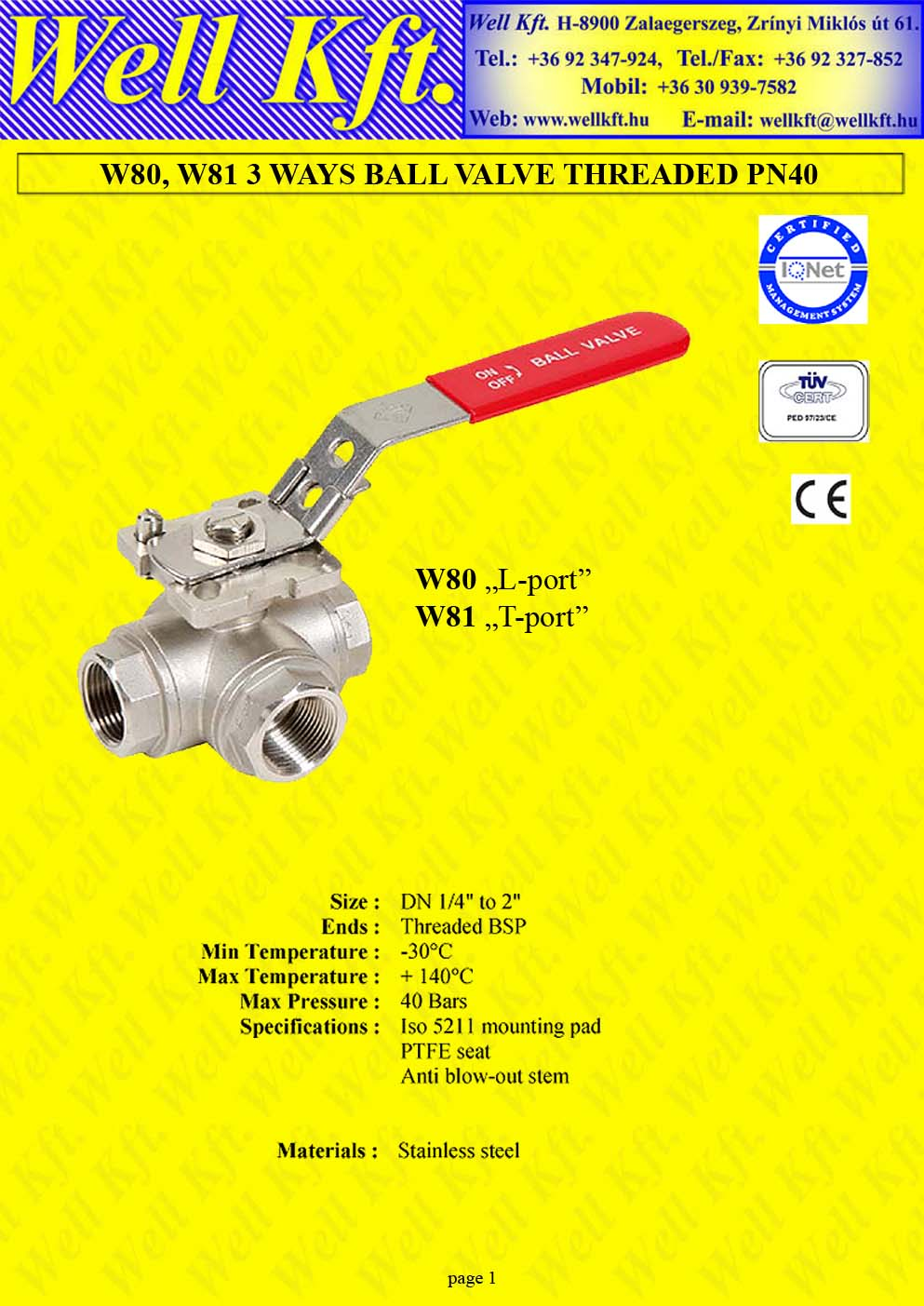3 ways ball valve stainless steel threaded PN 40 (1.)