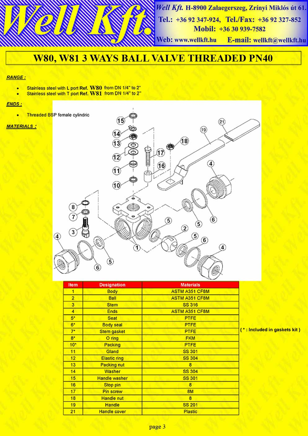 3 ways ball valve stainless steel threaded PN 40 (3.)