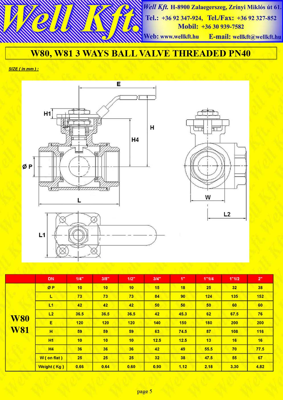 3 ways ball valve stainless steel threaded PN 40 (5.)