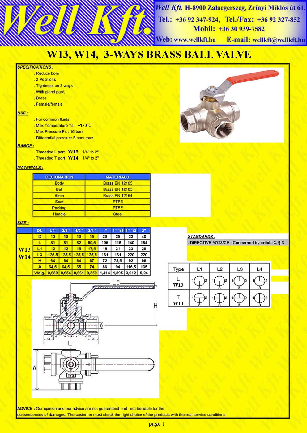 Brass ball valve 3 ways fff, PN 16