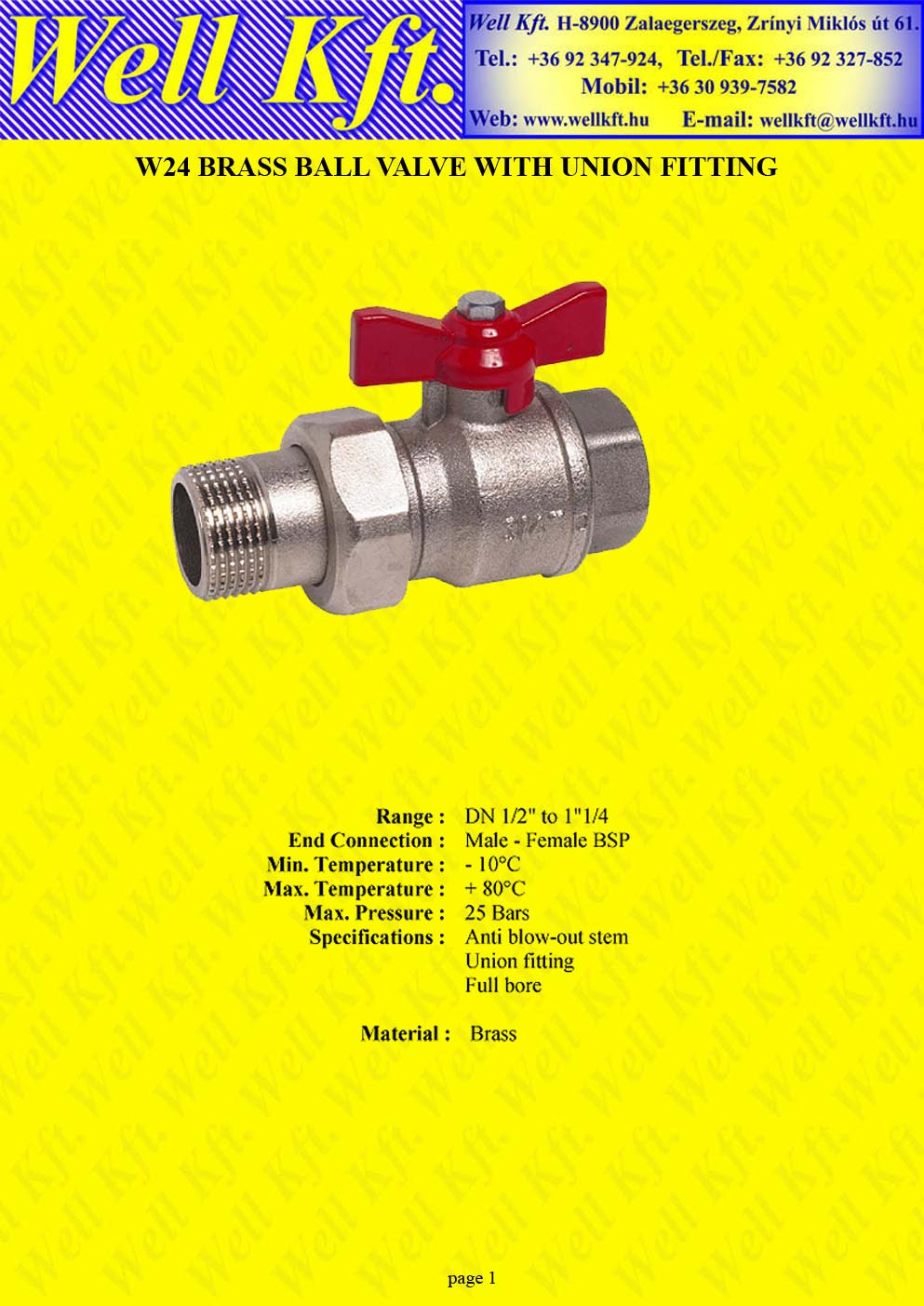 Brass ball valve male-female union fitting PN 25 (1.)