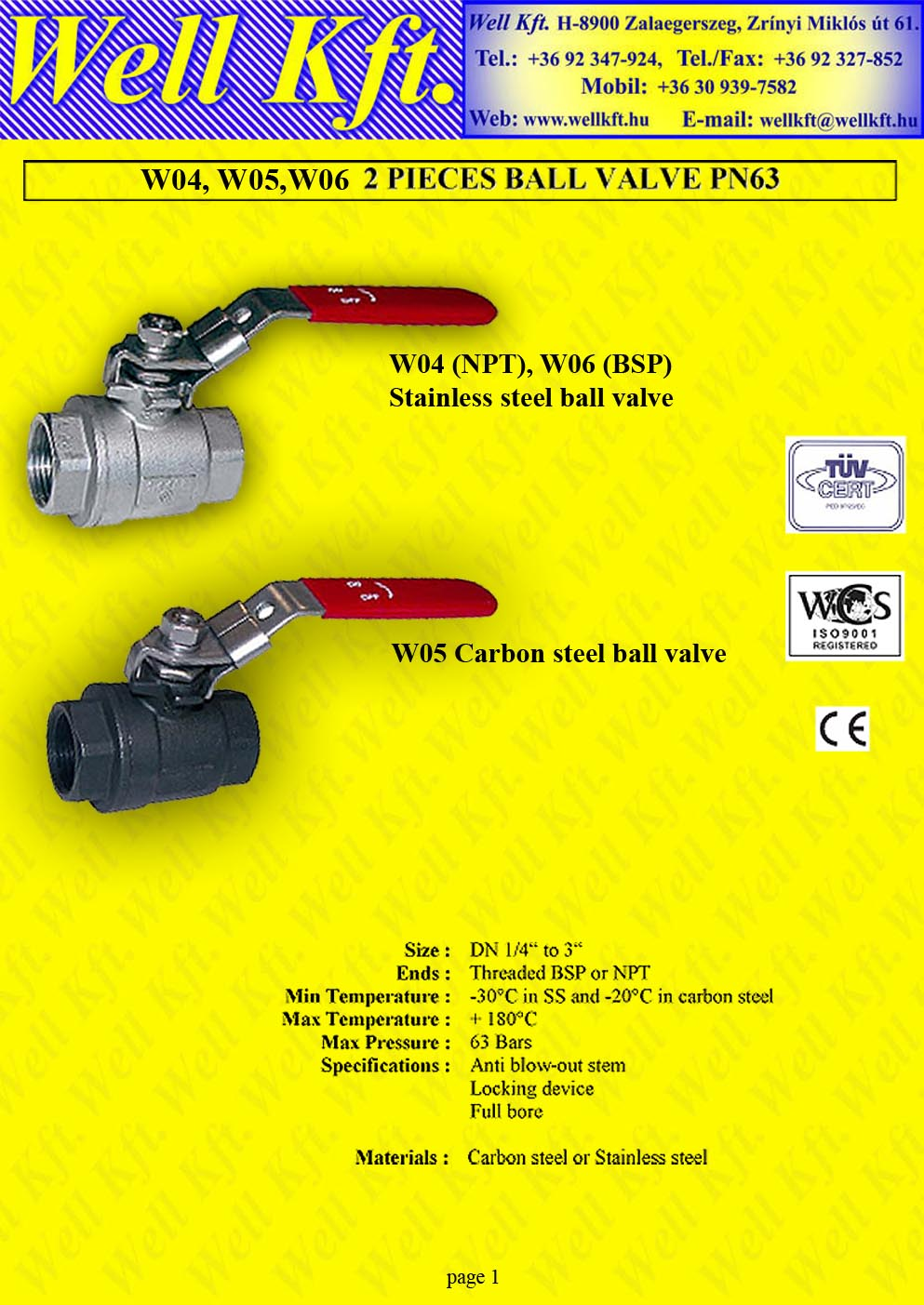 2 pieces ball valve stainless steel, carbon steel, female PN 25-60 (1.)