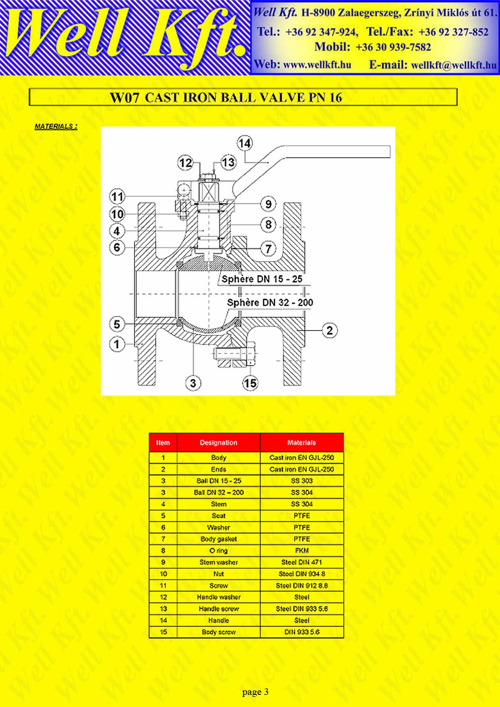 Ball valve 2 pieces cast iron ISO pad PN 16  (3.)