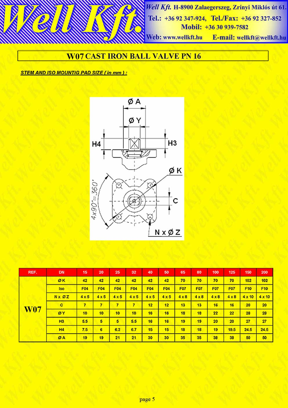 Ball valve 2 pieces cast iron ISO pad PN 16  (5.)