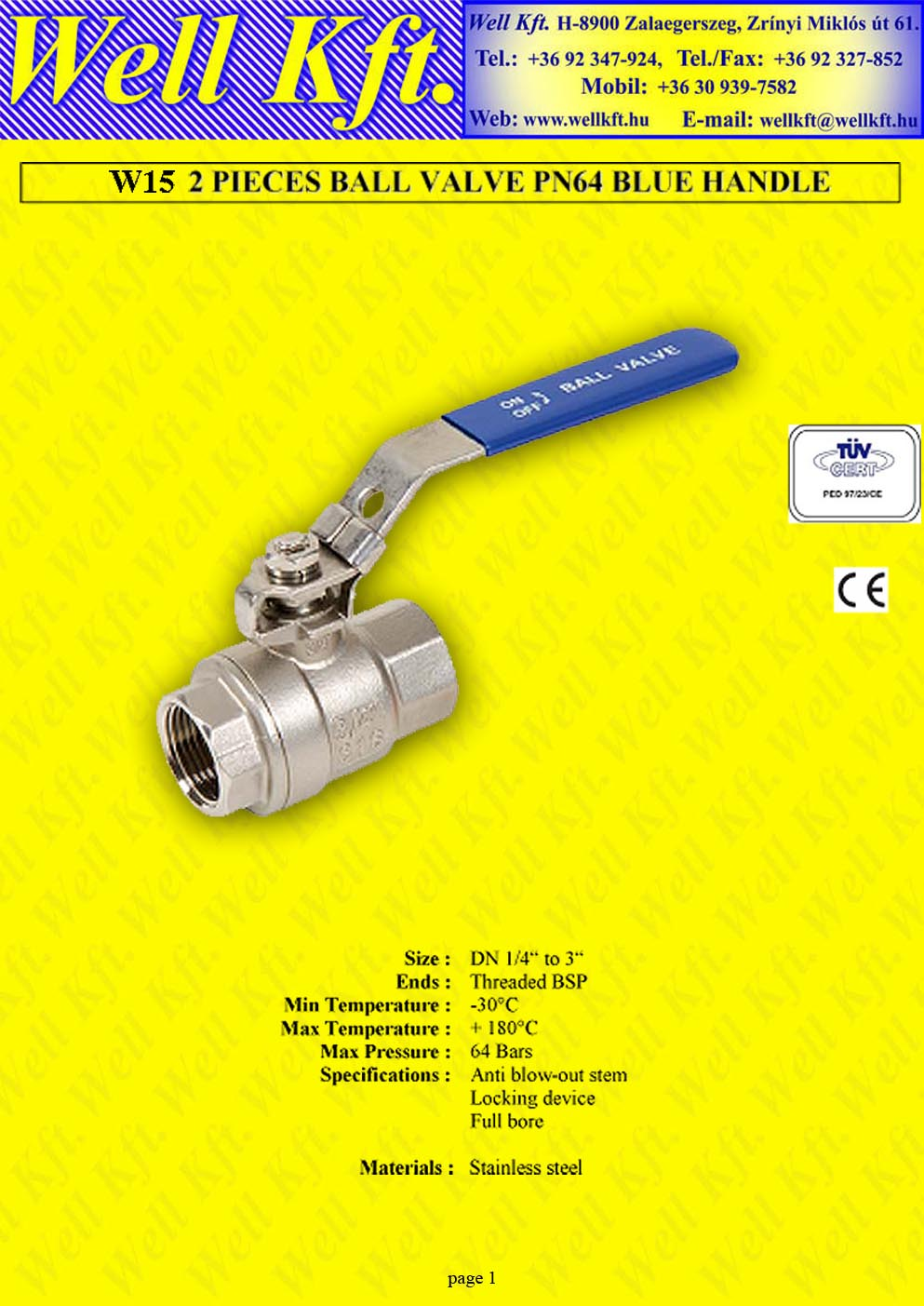 2 pieces ball valve stainless steel, ff. PN 64 (1.)