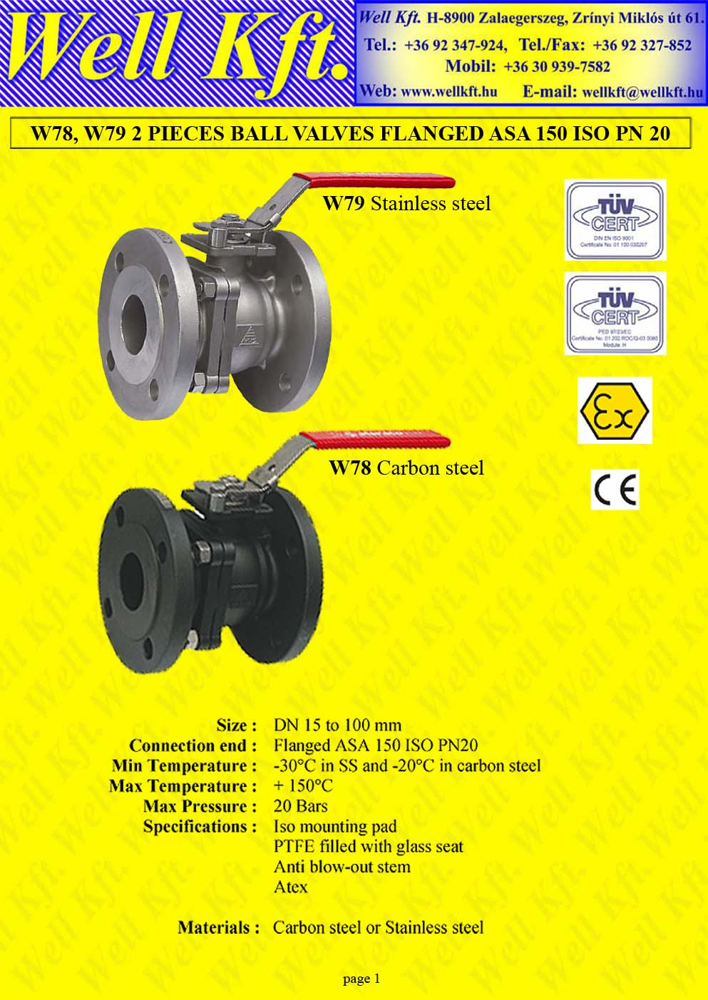 Ball valve 2 pieces stainless steel, carbon steel ISO pad, ANSI150  (1.)