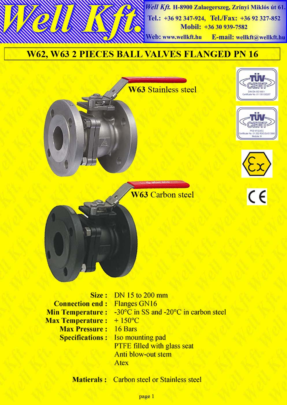 Ball valve 2 pieces stainless steel, carbon steel ISO pad, PN 16  (1.)
