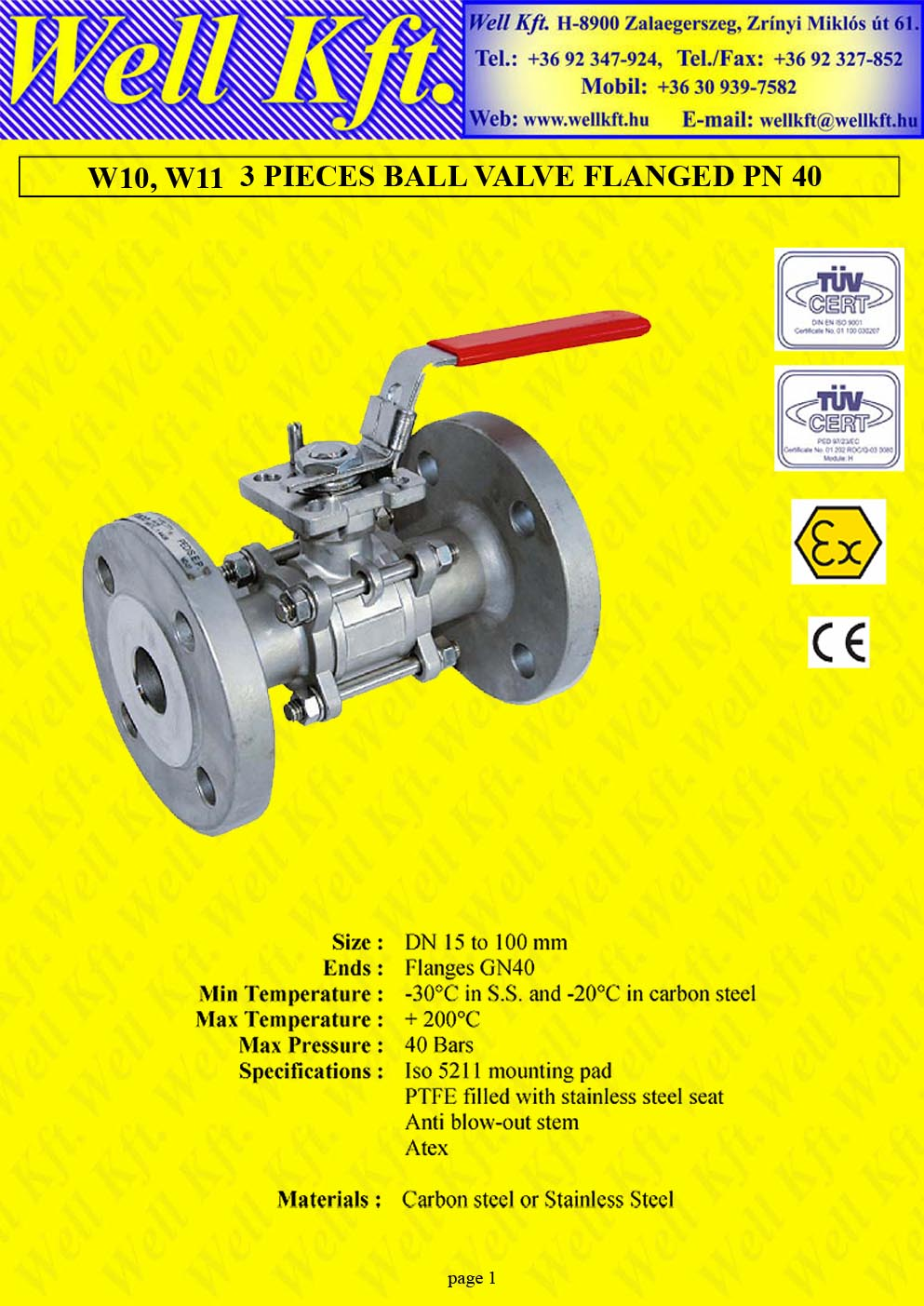 Ball valve 3 pieces stainless steel, carbon steel ISO pad flanged, PN 40 (1.)