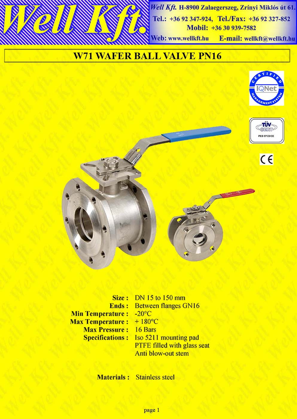 Ball valve wafer stainless steel ISO pad, PN 16  (1.)