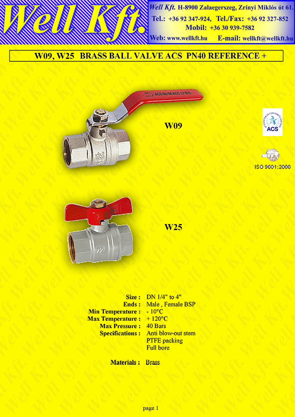 Brass ball valve female female PN 10-40 (1.)