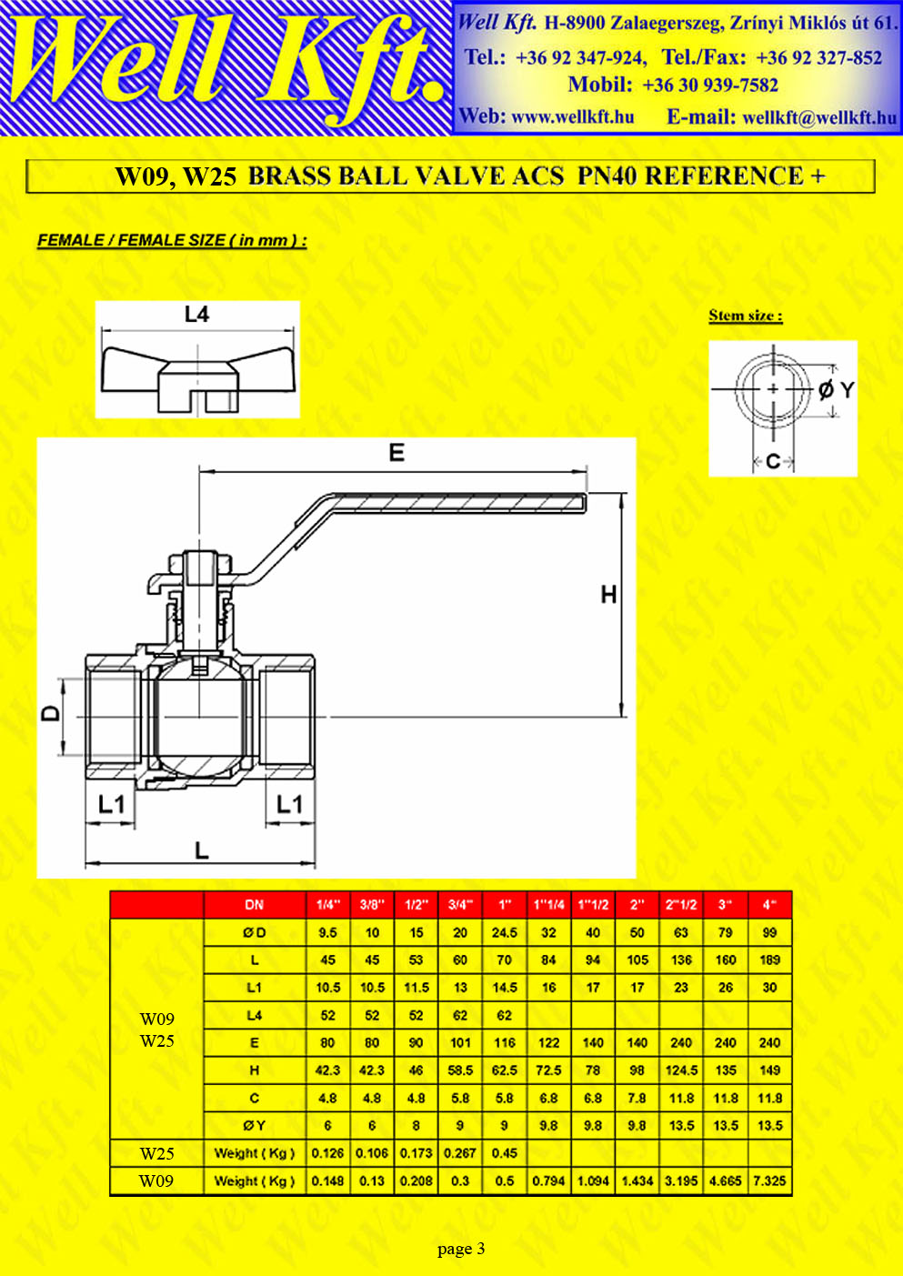 Brass ball valve female female PN 10-40 (3.)