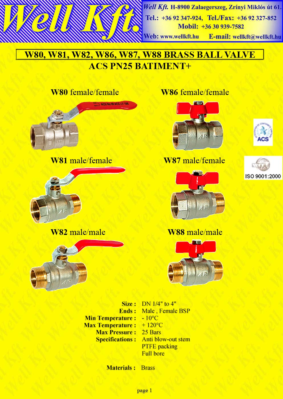 Brass ball valve threaded PN 20-25 (1.)