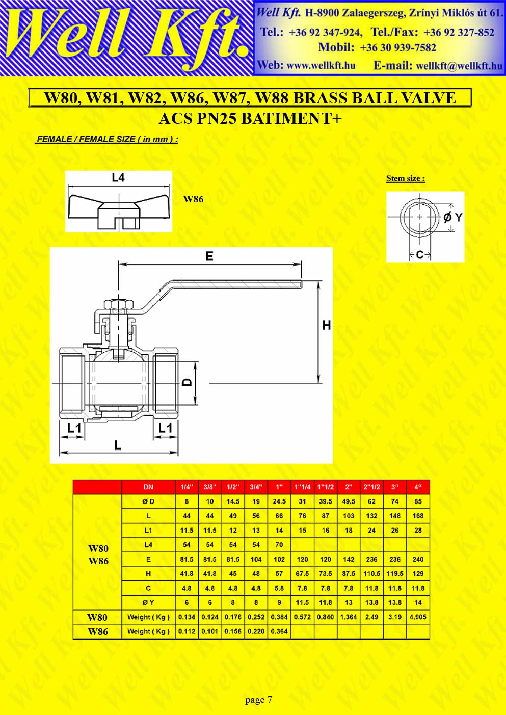 Brass ball valve threaded PN 20-25 (7.)