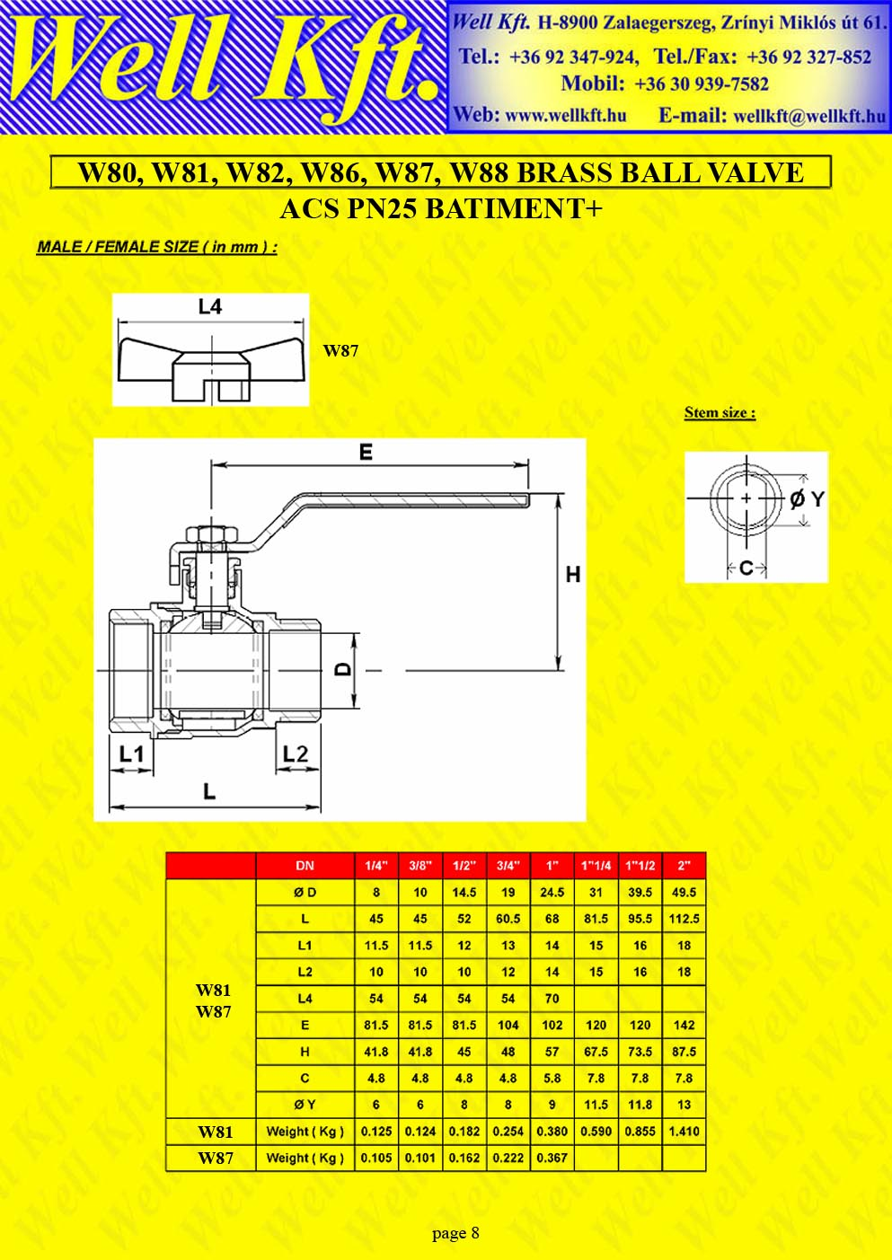 Brass ball valve threaded PN 20-25 (8.)