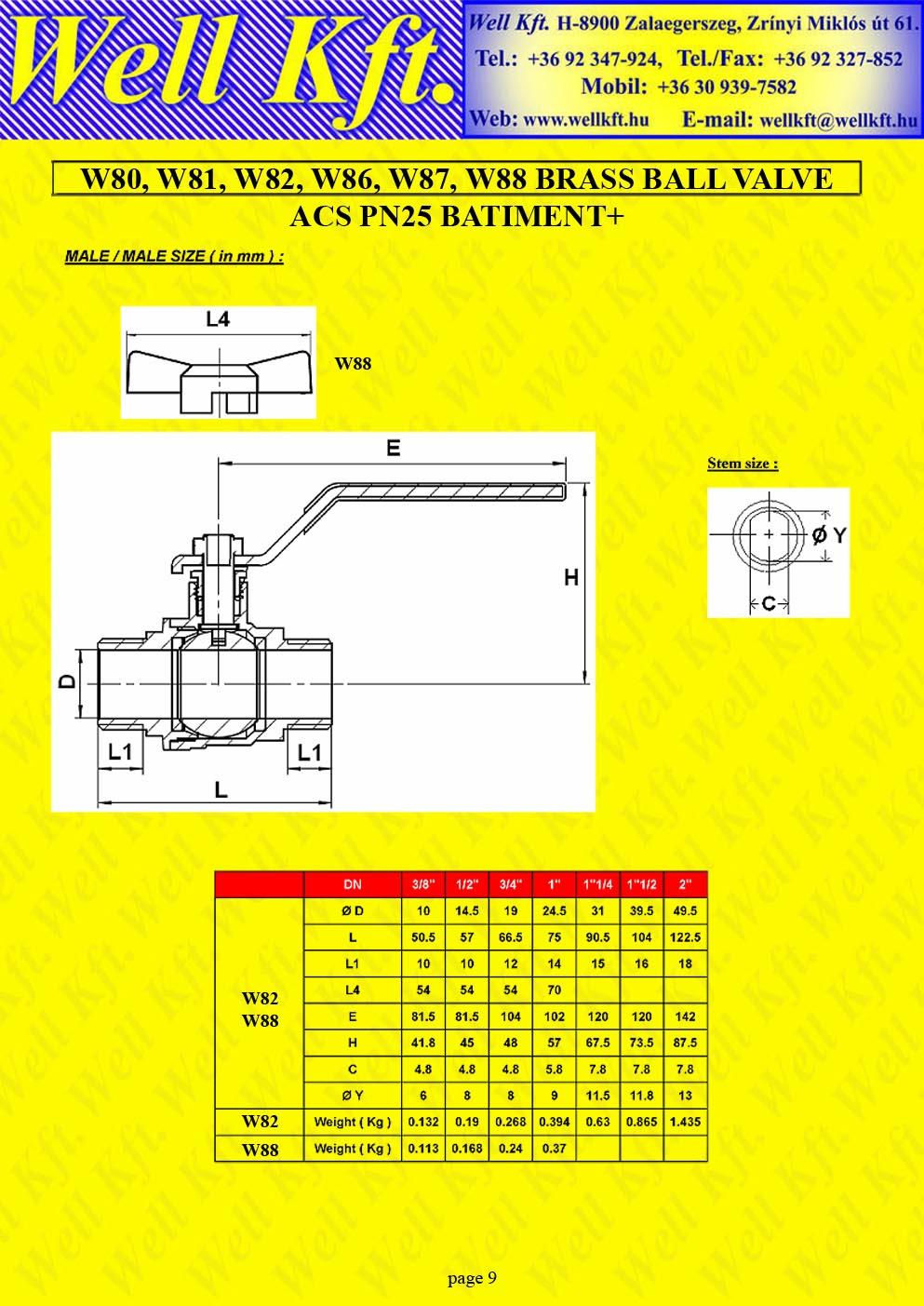 Brass ball valve threaded PN 20-25 (9.)