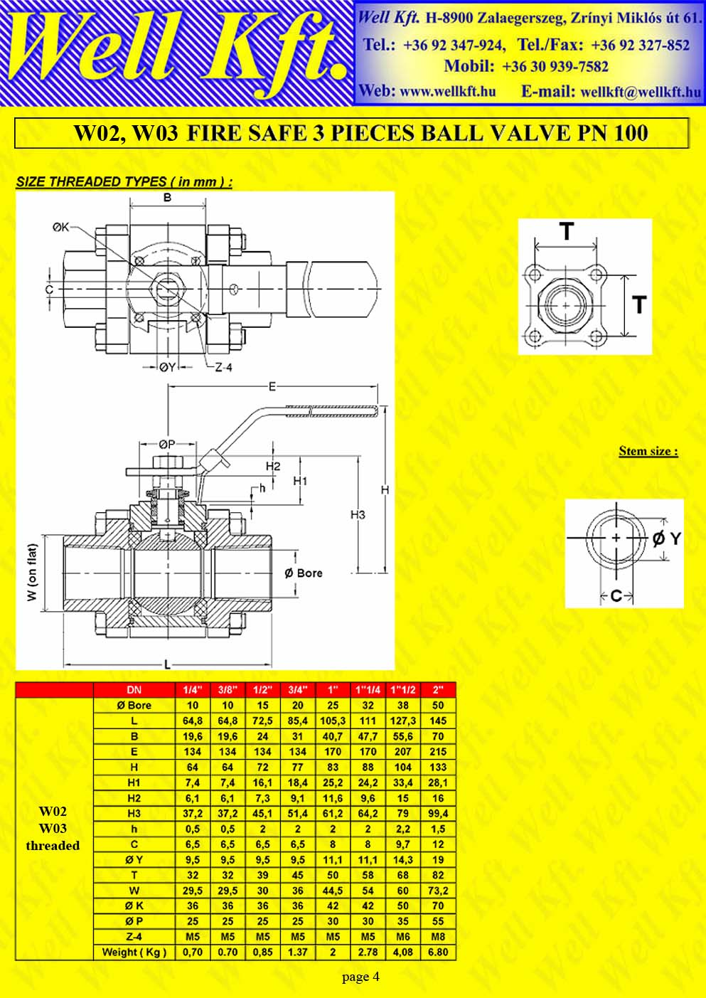 Fire safe 3 pieces ball valve ss., carbon steel, ISO pad PN 100-140 (4.)