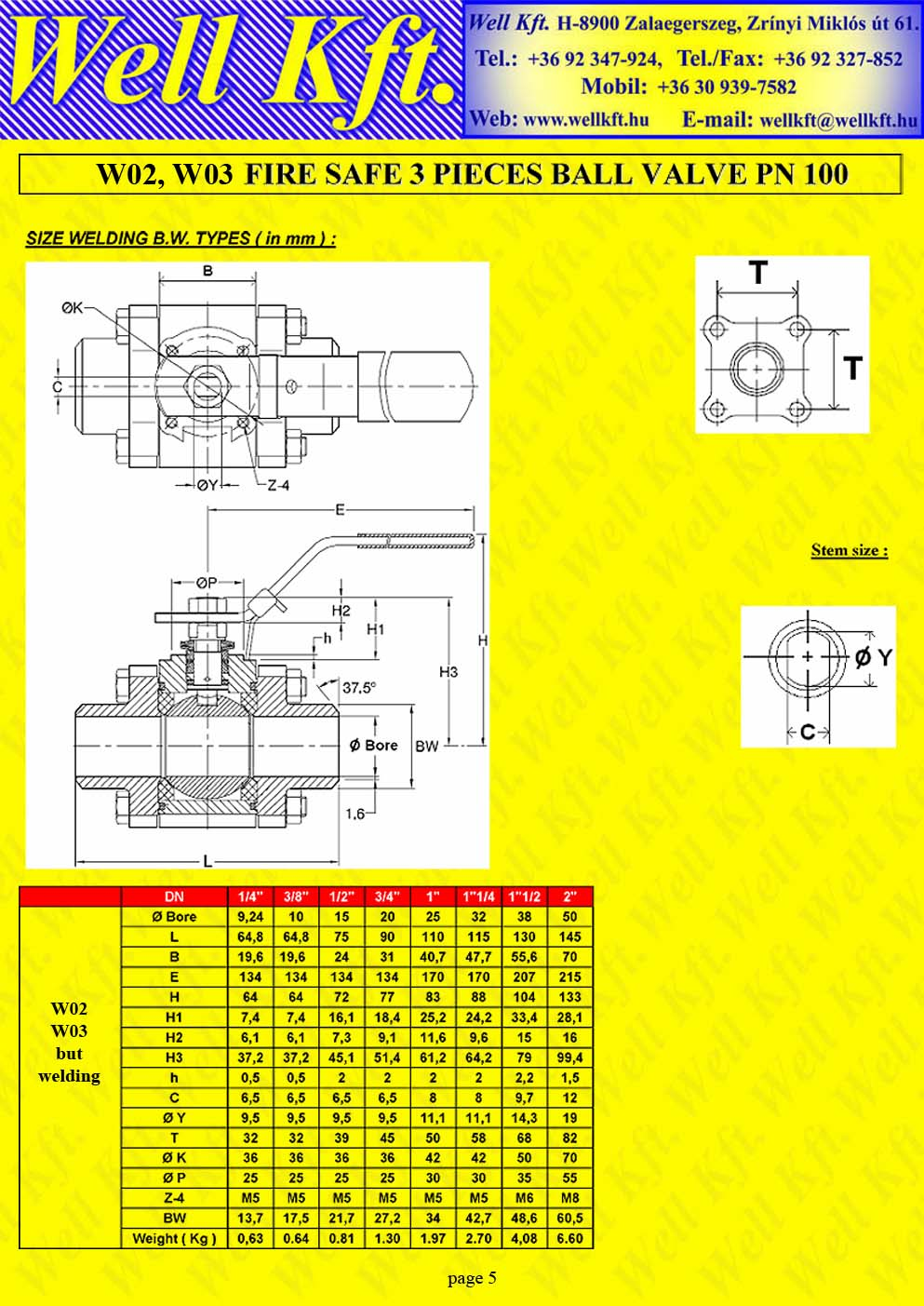 Fire safe 3 pieces ball valve ss., carbon steel, ISO pad PN 100-140 (5.)