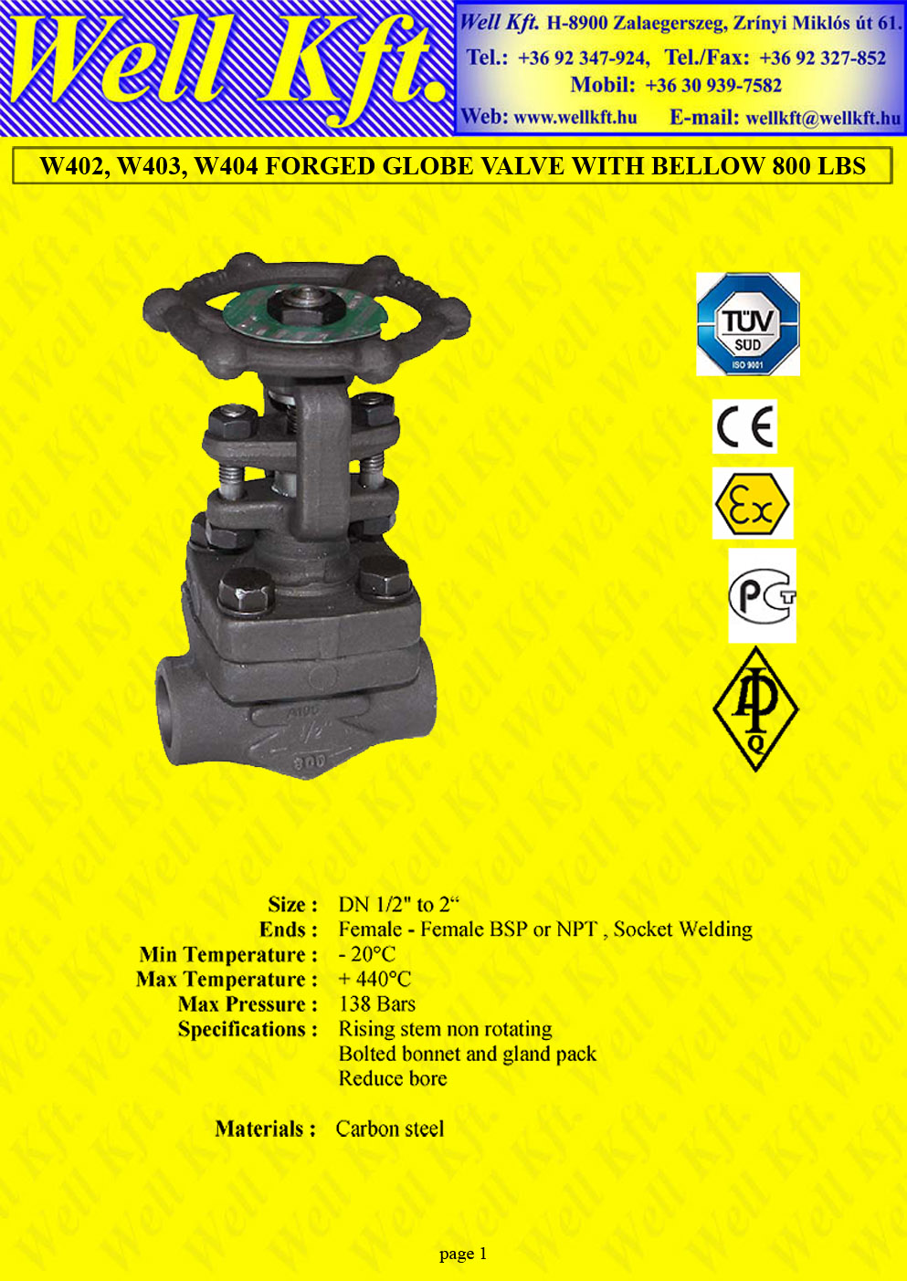Globe valve forged carbon steel PN 138