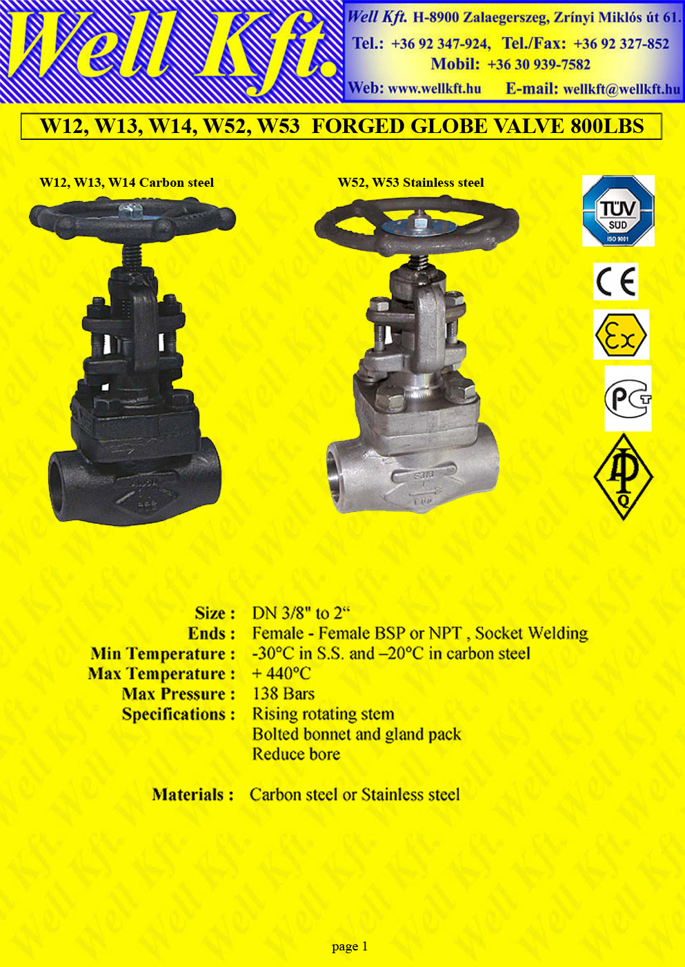 Globe valve stainless steel, forged carbon steel PN 138  (1.)