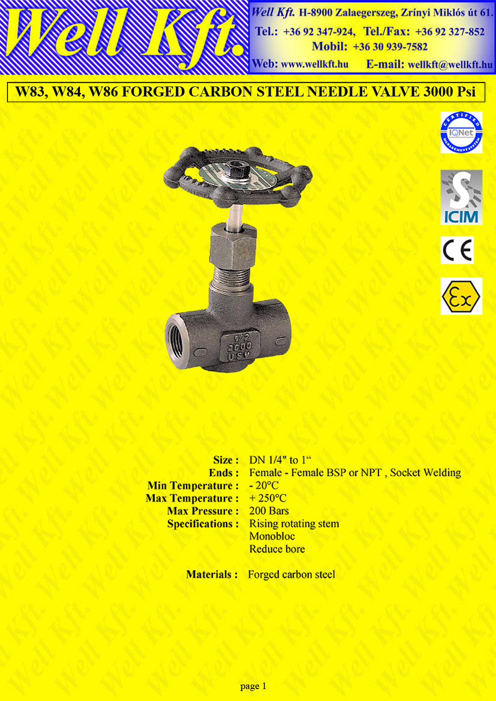 Needle valve forged carbon steel PN 200  (1.)
