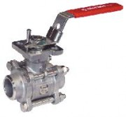 Stainless steel 3 pieces ball valve ISO pad PN 64