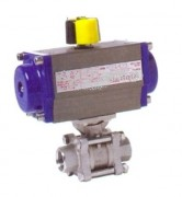 3 pieces stainless steel ball valve with  pneumatic actuator