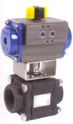 3 pieces carbon steel ball valve with pneumatic actuator