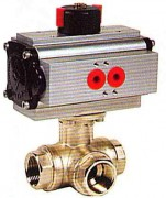 Pneumatic actuated 3 ways brass ball valve WPG513L-514T