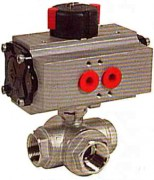 Pneumatic actuated 3 ways stainless steel ball valve WPG780L-781T