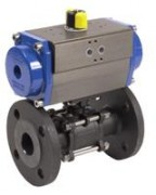 3 pieces flanged ball valve with pneumatic actuator