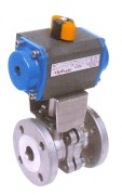 Split body stainless steel ball valve with pneumatic actuator